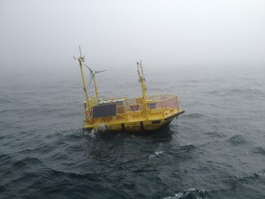 The Ocean Sentinel, a wave-energy testing platform, at sea off the coast of Newport, Oregon. Photo credit: David Ferris